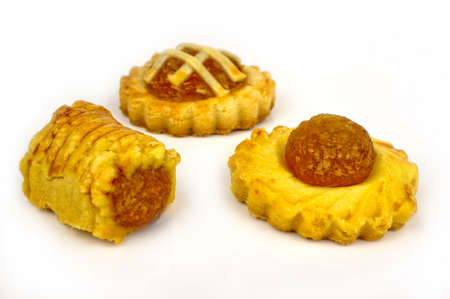 chinese new year food: Pineapple tarts with three assorted designs  Stock Photo