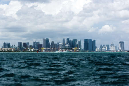 A long shot of a cityscape with harbor photo