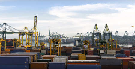 Wide shot of a busy Harbor with lots of Cranes and cargo containers