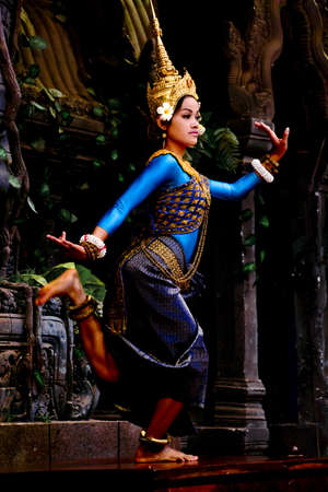 SIEM REAP, CAMBODIA - May 2012  A traditional Khmer Cambodian female dancer in Apsara dance pose