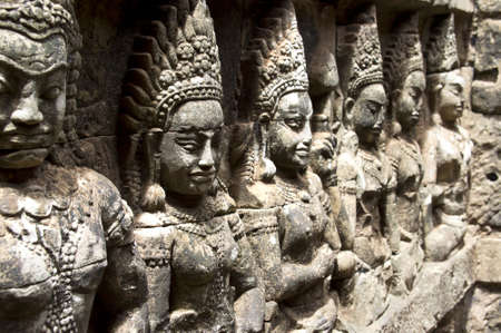 khmer: CAMBODIA, ANGKOR, Terrace of the Elephants  Apsara carved on Wall