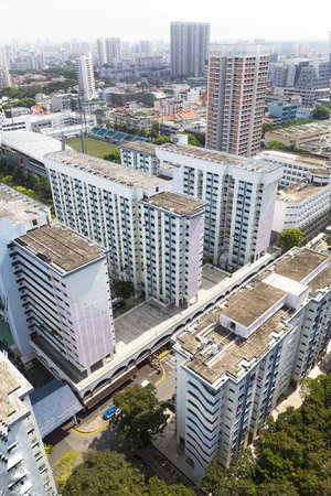 residential district: High angle view of an old crowded residental district in Singapore.