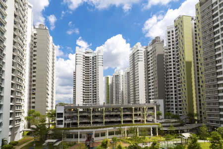 A new estate with neighborhood facities carpark at the center- Singapore  Stock Photo - 20738107