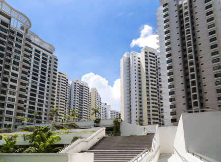 A new estate with neighborhood facities and carpark at the center- Singapore Stock Photo - 20738109