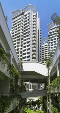 residential neighborhood: Low angle shot of a residential estate from the multistory carpark