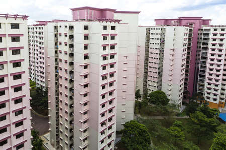 hdb: A high angle view of a residential estate with pink color theme- Singapore Editorial