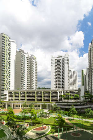 hdb: Vertical shot of a Residential estate with Park and playground