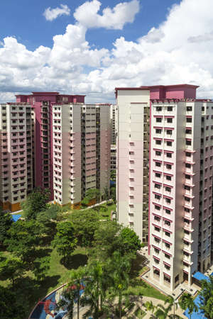 hdb: A vertical shot of a pink estate with park and playground
