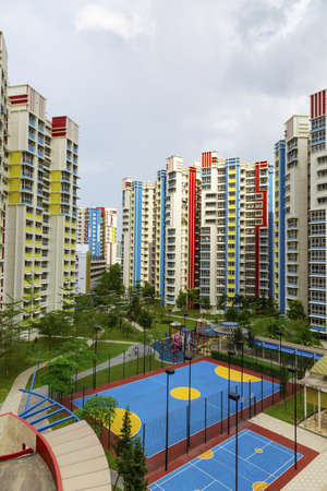 A new colorful neighborhood estate with carpark and playground