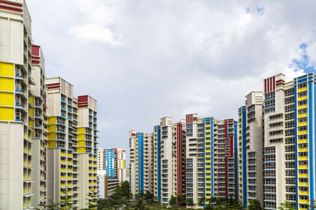 block of flats: A color residential estate with a park and carpark