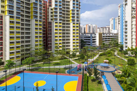 A new apartment neighborhood with carpark and playground