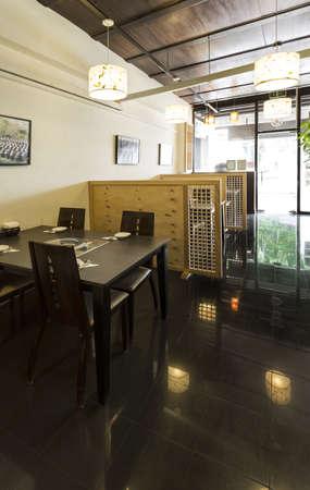 Vertical shot of the interior of a Korean Restaurant. photo