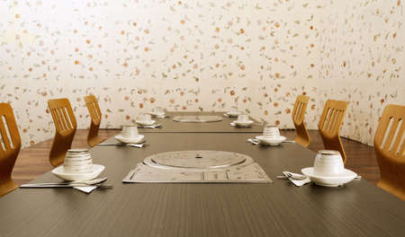 Frontal shot of the interior of a Korean prviate dining room. photo