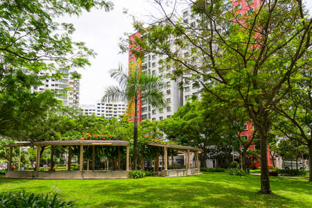 A new colorful neighborhood estate behind a domestic garden in Singapore Stock Photo - 22874608