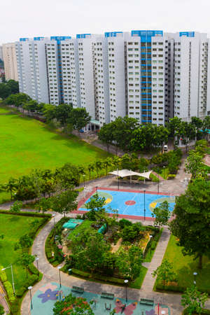 hdb: A new colorful neighborhood estate with tennis court and playground
