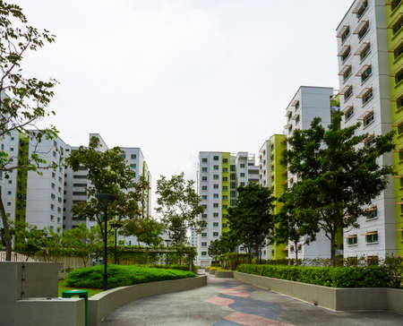 singapore building: A park leading to a green estate in Singapore