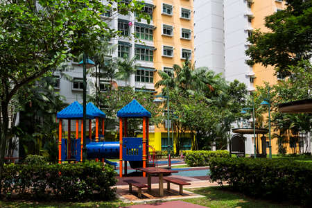 hdb: Residential estate with playrground on the foreground
