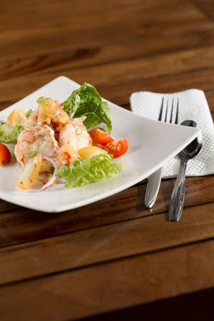 A plate of delicate creamy prawn ready to be served.