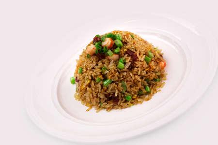 Chinesische Wurst-gebratener Reis mit Garnelen Lizenzfreie Bilder