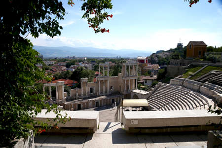 The ancient Roman stadium in Plovdiv. Bulgaria, Europe. Stock Photo