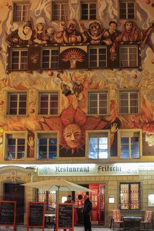 fasade: Lucerne, Switzerland - Novembre 24 2016. Nice fasade of Rosti restaurant Editorial