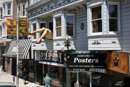 San Francisco, California, United States - 11 June 2010. Colorful stores in Haight Street. Haight Street is the main street of famous Haight-Ashbury District, with its bohemian ambiance Editorial