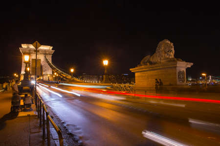riverbank: Szechenyi Bridge in Budapest Hungary. Beautiful bridge over the Danube. Best bridge in Budapest.