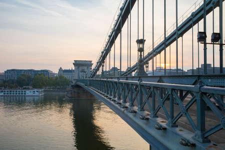 Szechenyi Bridge in Budapest Hungary. Beautiful bridge over the Danube. Best bridge in Budapest.