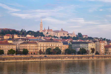 Danube river - panorama. Danube in Budapest Hungary. View of the Danube in Budapest. Embankment of Danube River Budapest 写真素材