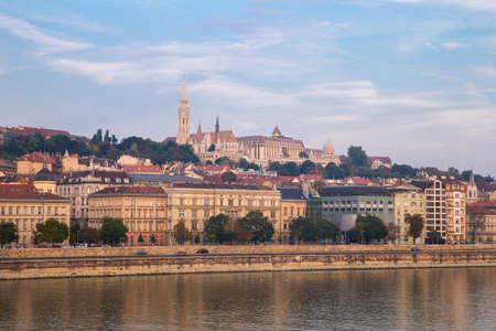 Danube river - panorama. Danube in Budapest Hungary. View of the Danube in Budapest. Embankment of Danube River Budapest Stock Photo