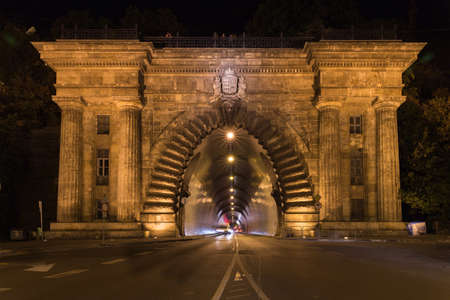 drive through: BUDAPEST, HUNGARY Adam Clark Tunnel under Castle Hill. It provides easy access to places in Buda behind the hill. 350 meters in length, it was opened in 1856. Stock Photo