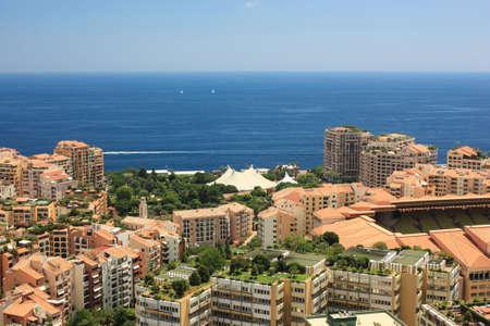 prestigious: View Monaco neighborhoods. The beautiful Mediterranean Coast. Cote dAzur. Stock Photo