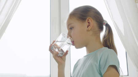 Girl teenager drinking clear water from glass on home kitchen on window background. Thirsty girl drinking fresh water from glass and looking to camera. Close up backlit natural light Stok Fotoğraf - 121267766