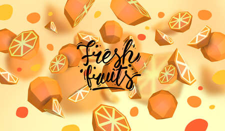 Creative background with low poly fruit. Illustration with polygonal orange.