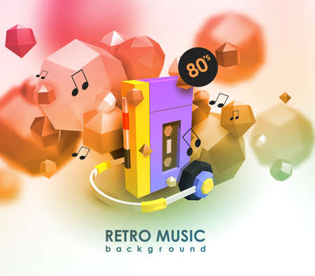 Creative background with retro cassette player. Template with music device and low poly elements.