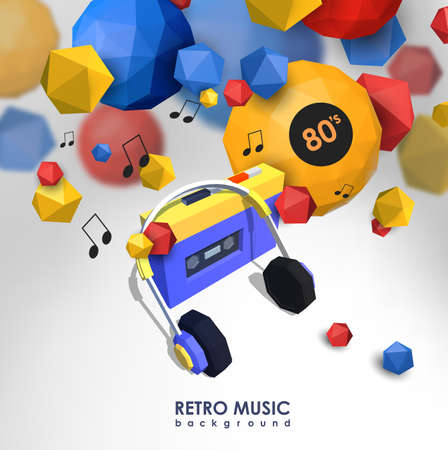 media player: Creative background with retro cassette player. Template with music device and low poly elements.