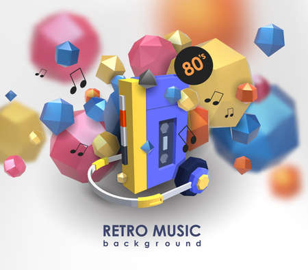 cassette tape: Creative background with retro cassette player. Template with music device and low poly elements.