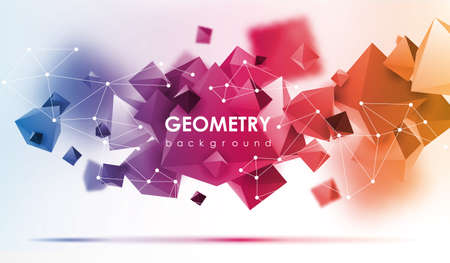 Abstract poligonal background. 3d render illustration. Geometric background with low-poly elements.