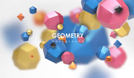 Dramatic: Abstract poligonal background. 3d render illustration. Geometric background with low-poly elements.