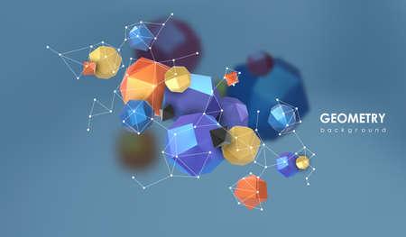 Abstrait arrière-plan poligonal. Illustration de rendu 3d. Fond géométrique avec des éléments à faible poly. Vecteurs