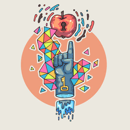 Hand reaches for an apple. Cartoon illustration in comic trendy style.