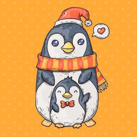 cute cartoon penguins. Cartoon illustration in comic trendy style.