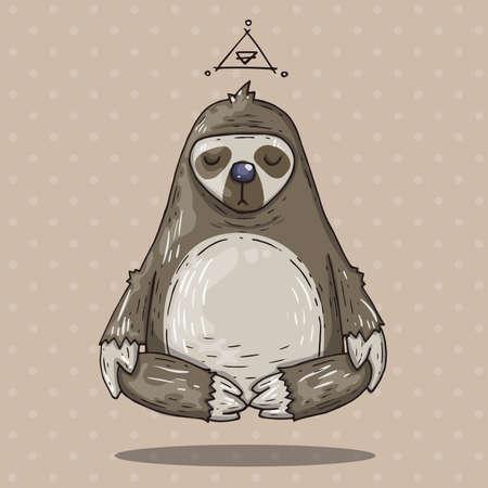 Cartoon sloth meditates. Cartoon illustration in comic trendy style. Иллюстрация