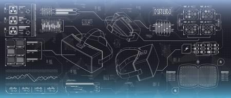 HUD ui para vidrios de la realidad virtual. Futurista interfaz de usuario para aplicaciones y web. Head-up display infográfico, conjunto de elementos para el diseño de movimiento. Ilustración de vector