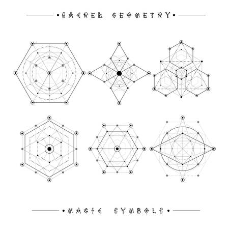 Sacred Geometry Signs Set Of Symbols And Elements Alchemy