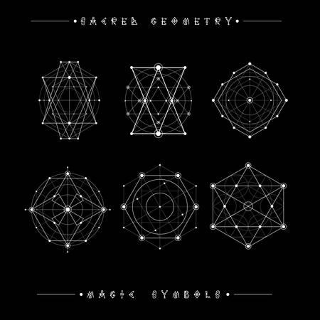 Heilige Geometriezeichen. Satz von Symbolen und Elementen. Alchimie, Religion, Philosophie, Spiritualität, Hipster Symbole und Elemente. geometrische Formen Standard-Bild - 80876842