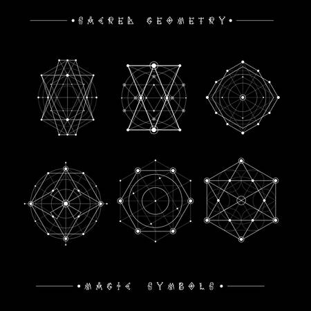 freemasonry: Sacred geometry signs. Set of symbols and elements. Alchemy, religion, philosophy, spirituality, hipster symbols and elements. geometric shapes