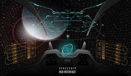 demographics: View from the cockpit spaceship. Head-up display elements for the Spaceship interface