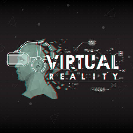 infochart: Virtual reality. Lettering with futuristic user interface elements.