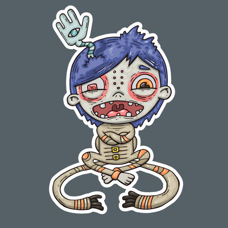 lunatic: insane boy, cartoon illustration.